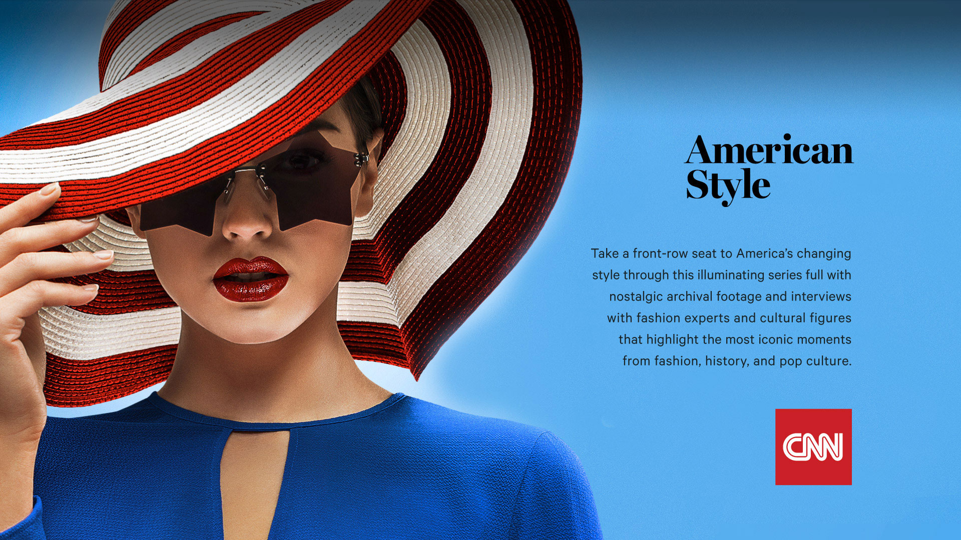 woman-wearing-and-holding-rim-of-red-and-white-striped-hat-and-star-sunglasses-red-lipstick-blue-top-american-style-logo-cnn-logo